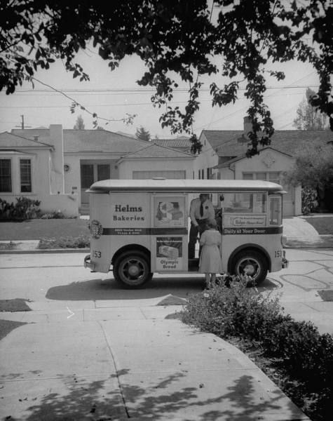 L.A. Helms Bakery Truck  Culver City 1948-We had a Helms sign you put in your window when you wanted him to stop.  Fresh doughnuts!