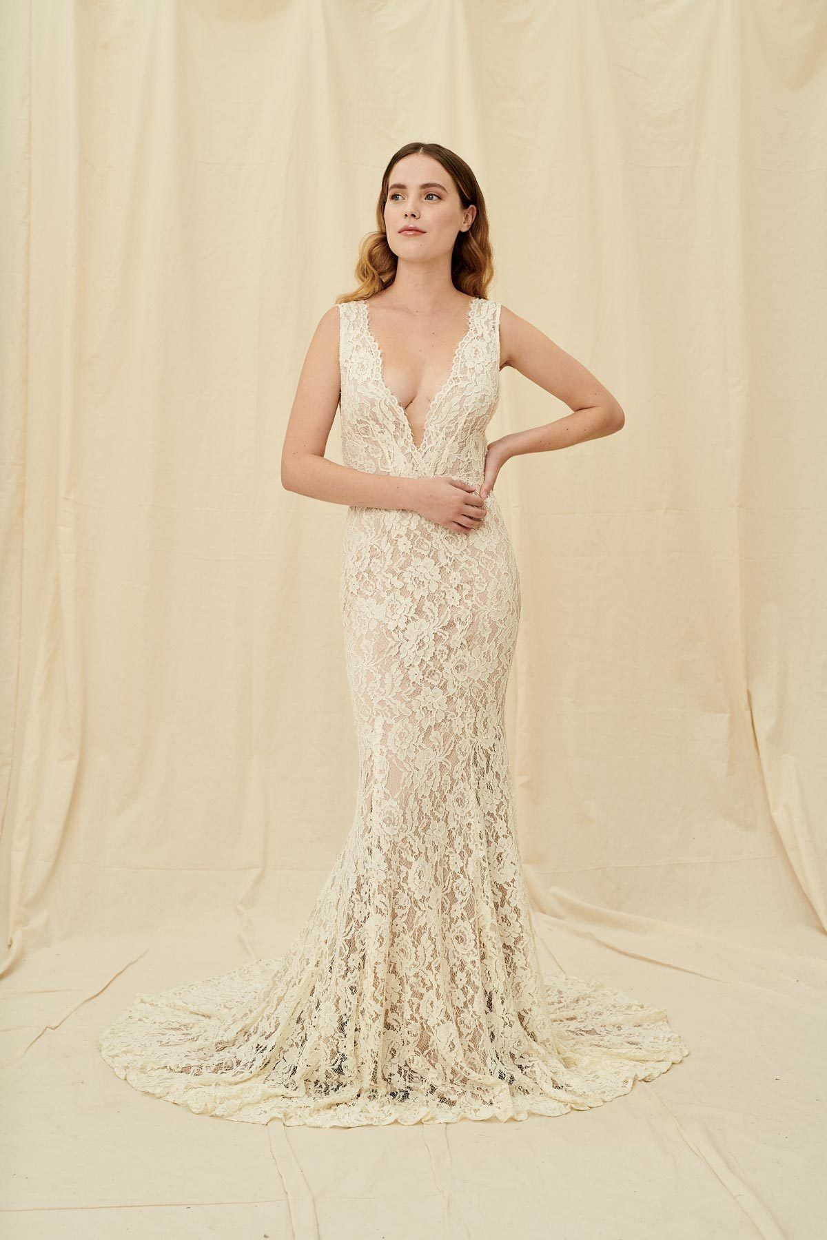 Laudae Laurel Plunging V Neck Mermaid Lace Wedding Dress With Low