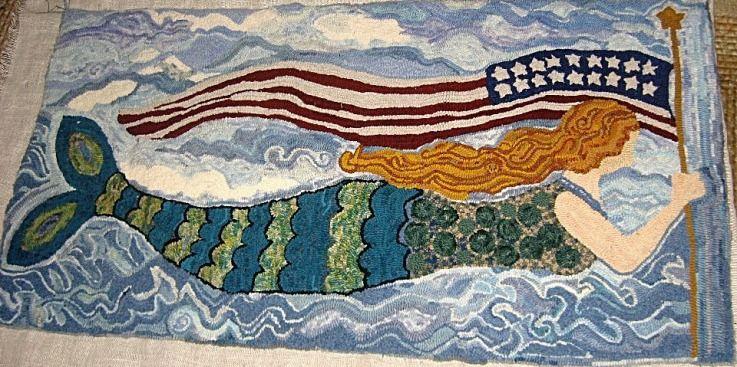 Mermaid Rug Polly Minick Pattern Rug Hooking Mermaid Quilt Hooked Rugs Primitive