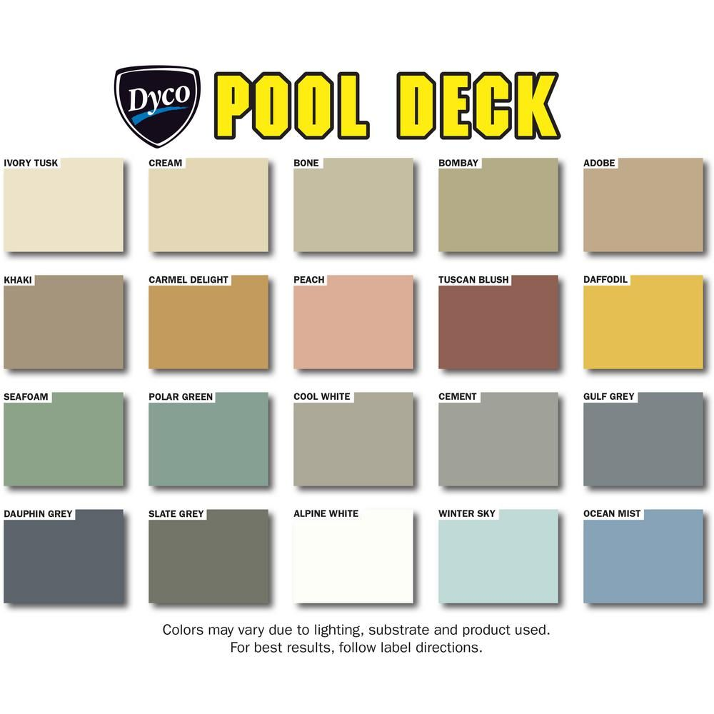 Dyco Paints Pool Deck 5 Gal 9050 Tint Base Low Sheen Waterborne Acrylic Exterior Stain Dyc9050 5 The Home Depot Painted Pool Deck Deck Paint Colors Deck Paint