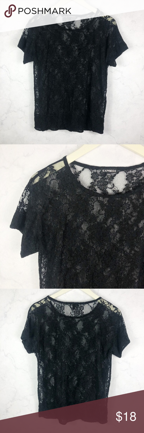 [Express] Sheer Lace Top Express Sheer Lace Mesh Shirt. Floral Lace Design. Short Sleeve. Cute & Comfy. Lightweight. No Stains or Rips.  (0326) Express Tops Tees - Short Sleeve