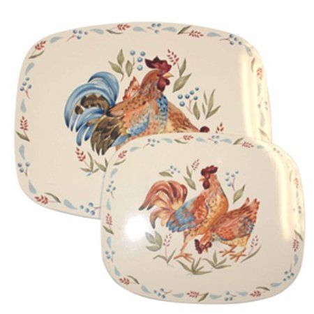 Corelle Coordinates Counter Mats Set Of 2 Country Morning Kitchen Dining Amazon Com Reston Corelle Rooster Decor