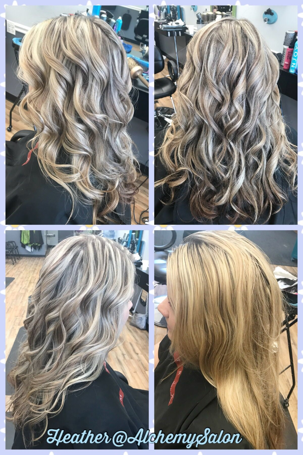 Platinum Blonde Highlights With Lowlights Long Hair Curls Before And After Blonde Highlights With Lowlights Curls For Long Hair Blonde Highlights
