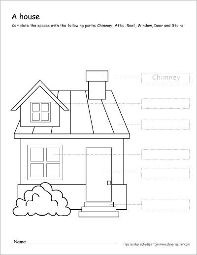Label And Colour The Parts Of House. A Free Printable First Grade Activity.  #kindergarten #co… Preschool Worksheets, Color Worksheets, Kids Worksheets  Printables