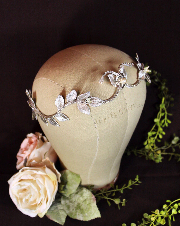 Silver bridal crown leaf bridal crown silver flower crown leaf bridal crown bridal crown silver flower crown izmirmasajfo