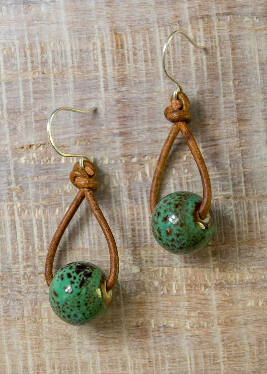 Cute Boho Ceramic Bead and Leather Drop Earrings | Sterling Silver Ear Wires | Seafoam Tumble Earrin