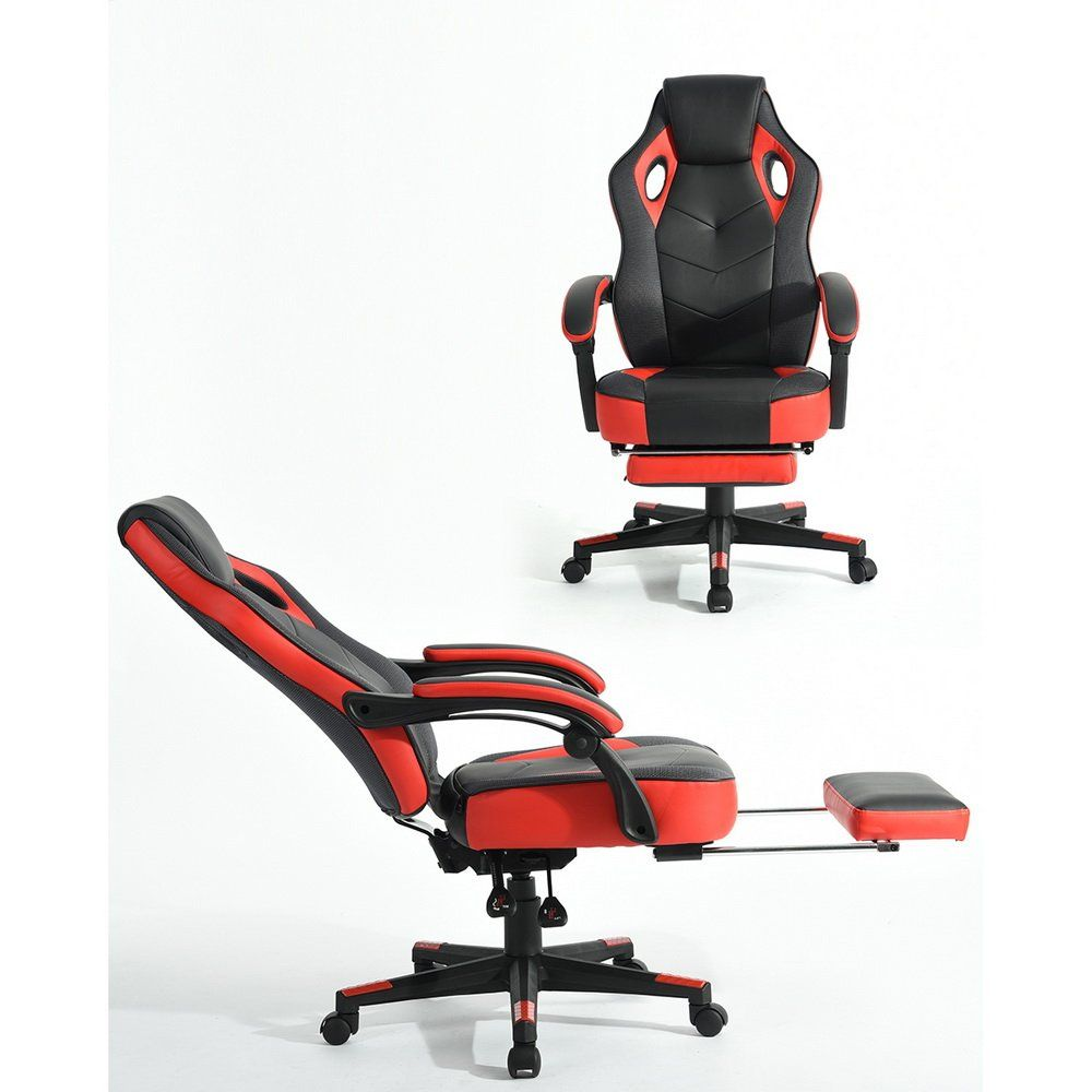 Executive Reclining Office Chair 360 Degree Swivel Ergonomic Racing Style Gaming Office Computer Desk Chair High Back Leather Mesh Napping Chair With Footrest B Black Office Chair Reclining Office Chair Chair