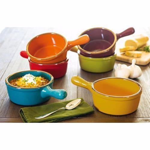 Set 6 Color Stoneware Soup Bowls W Handle Oven Dishwasher Microwave Safe 27 Oz Soup Bowls With Handles Soup Bowl Set French Onion Soup Bowls