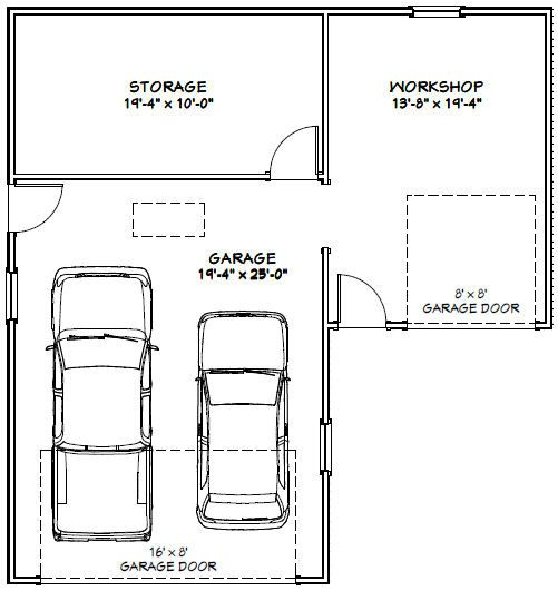 34x36 2 Car Garage 34x36g1 1 000 Sq Ft Excellent Floor Plans Garage Plans How To Plan Garages