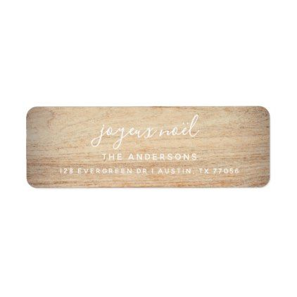 Joyeux Noel Faux Wood Return Address Label Return address, Noel - sample address label