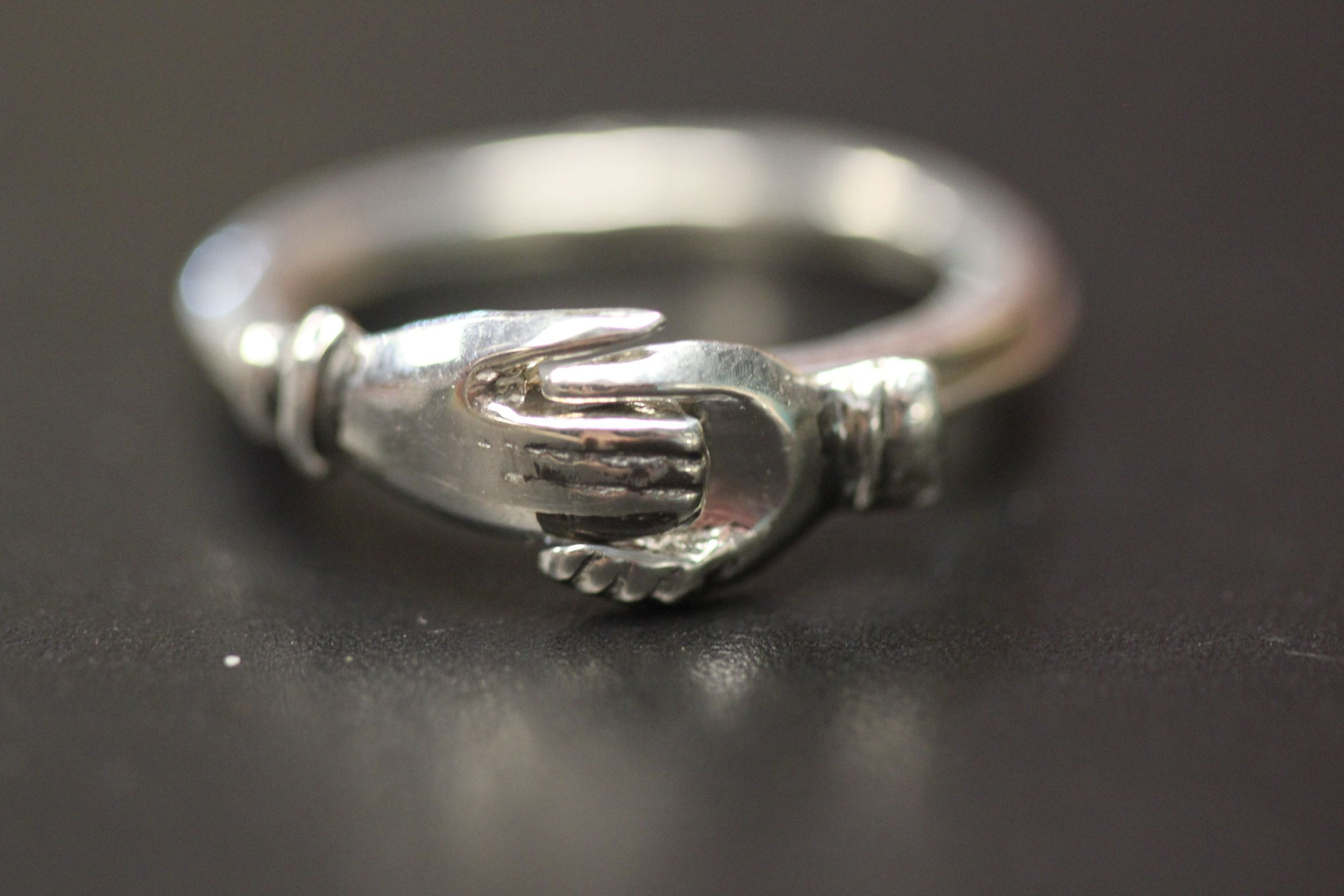 Friendship Ring Sterling Silver Two Rings Unfold To Display Two