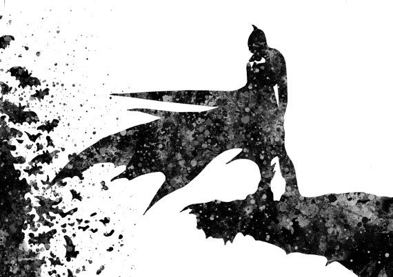 Batman inspired, Watercolor illustration, Watercolor Print ...