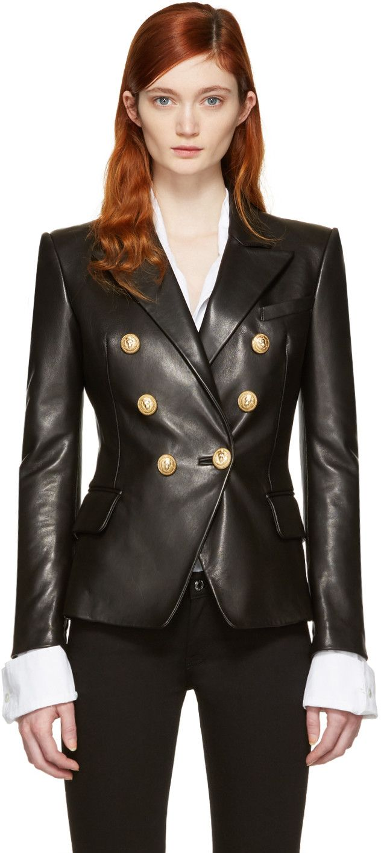Balmain Women S Double Breasted Six Button Leather Jacket In Black Modesens Leather Jackets Women Stylish Leather Jacket Classic Blazer [ 1413 x 632 Pixel ]