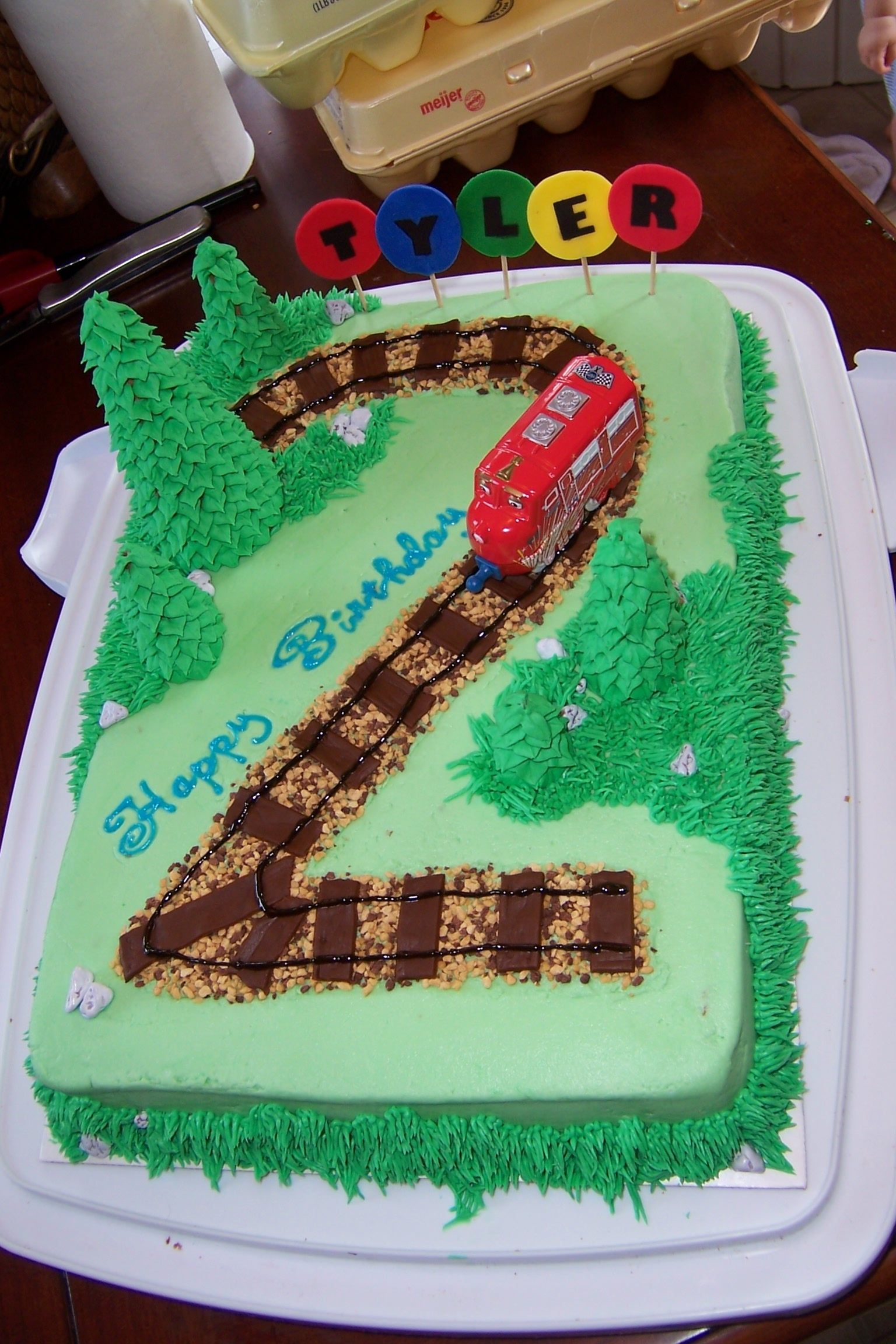 Train Cake Chuggington cake for 2yr old made using buttercream