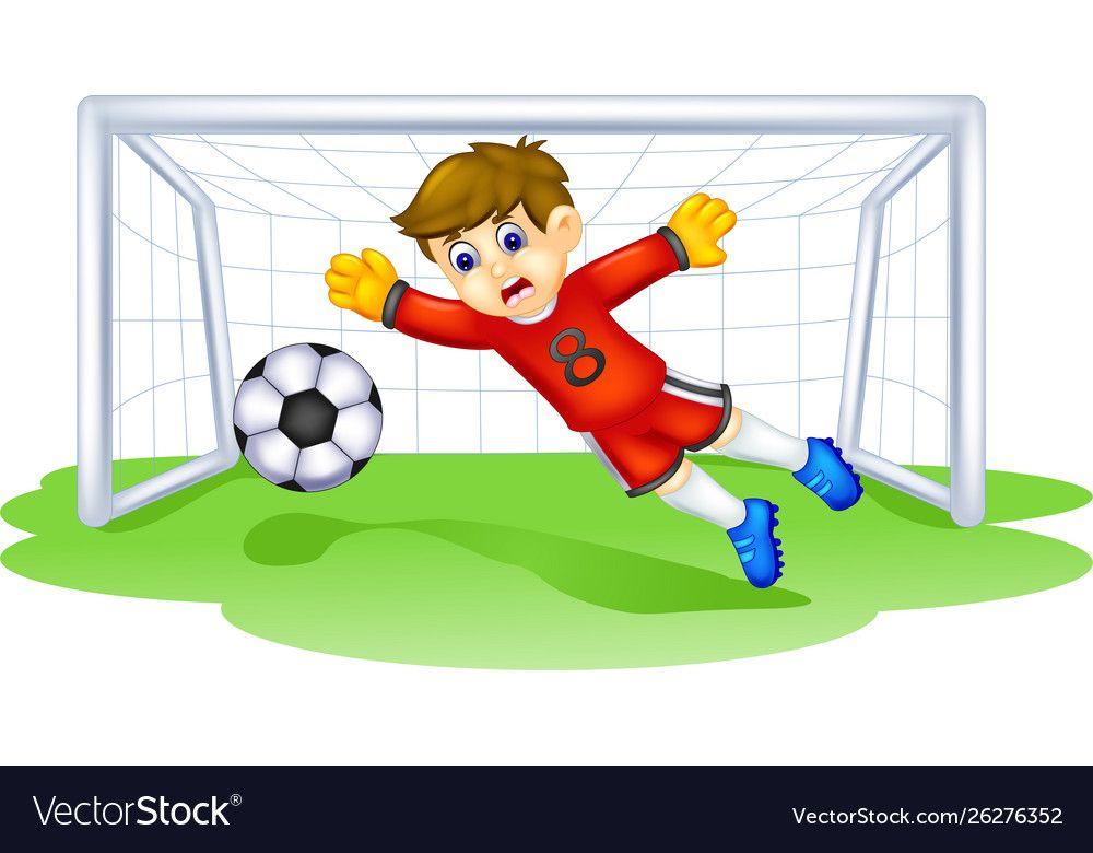 Funny Goal Keeper Cartoon Vector Image On Vectorstock Funny Goals Cartoons Vector Cartoon