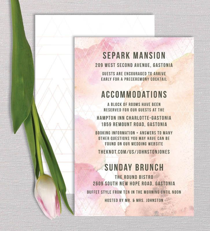 Cotton Candy Wedding Invitation Suite Details Information Card by ...