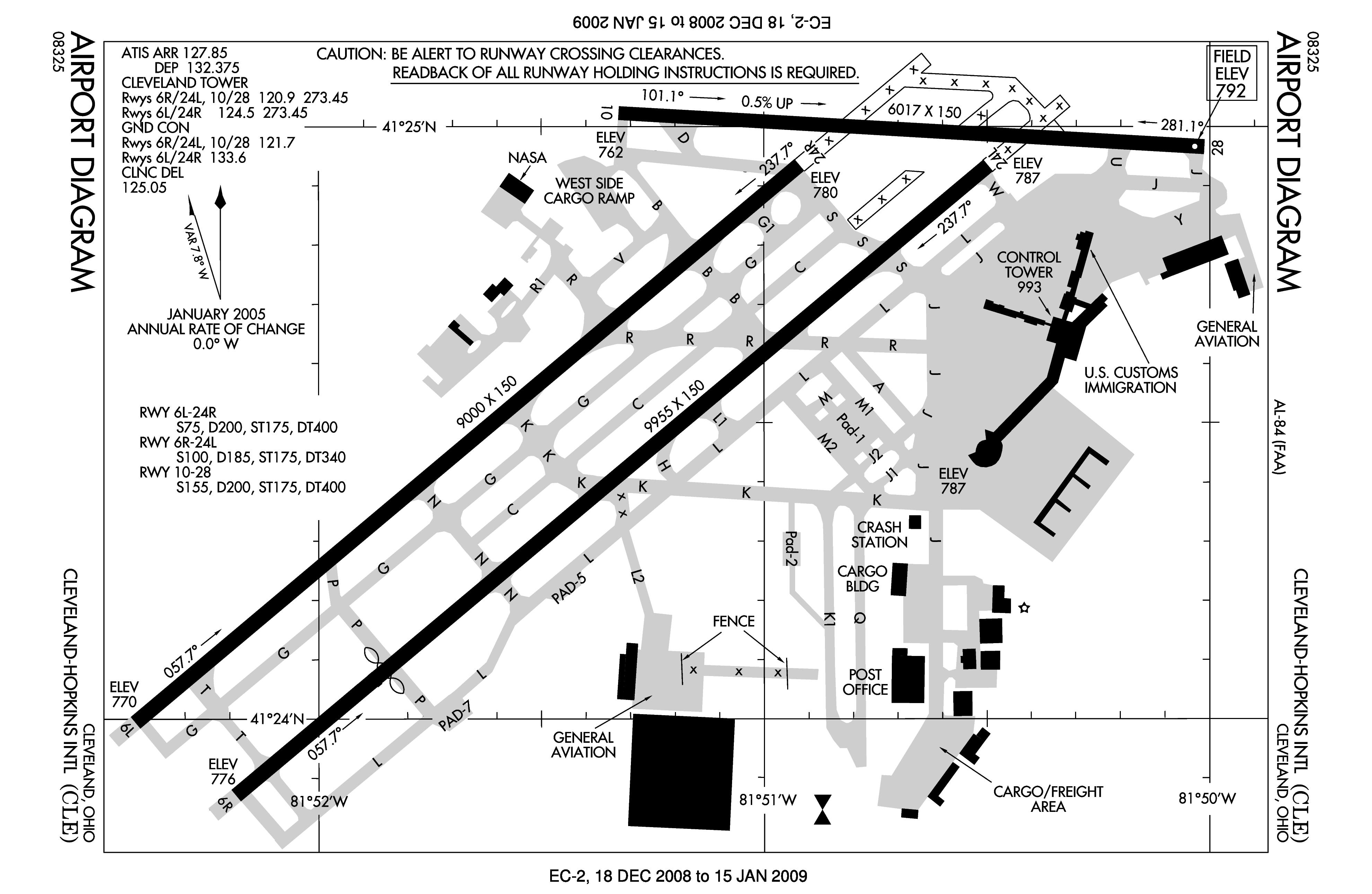 Cleveland Hopkins Airport Diagram