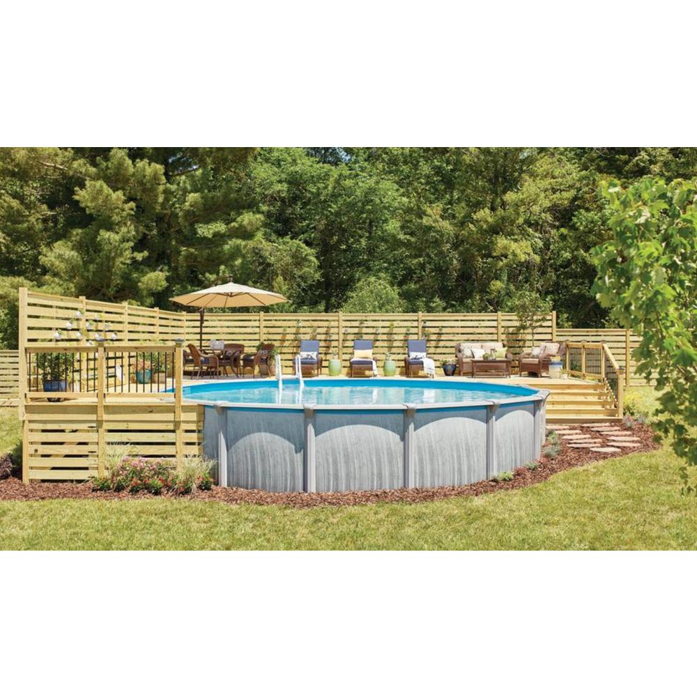 Blue Wave Martinique 24 Ft Round X 52 In Deep Metal Wall Above Ground Pool Package With 7 In Top Rail Nb3115 The Home Depot Above Ground Pool Landscaping Best Above