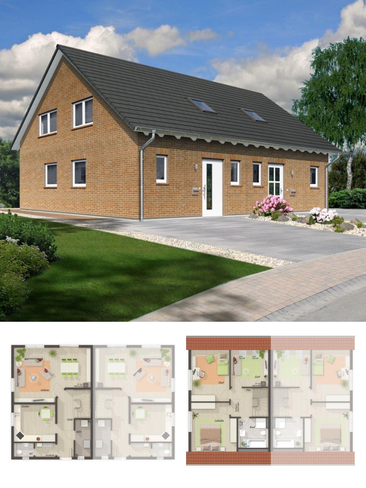 Doppelhaushälfte mit Satteldach Architektur, Klinker