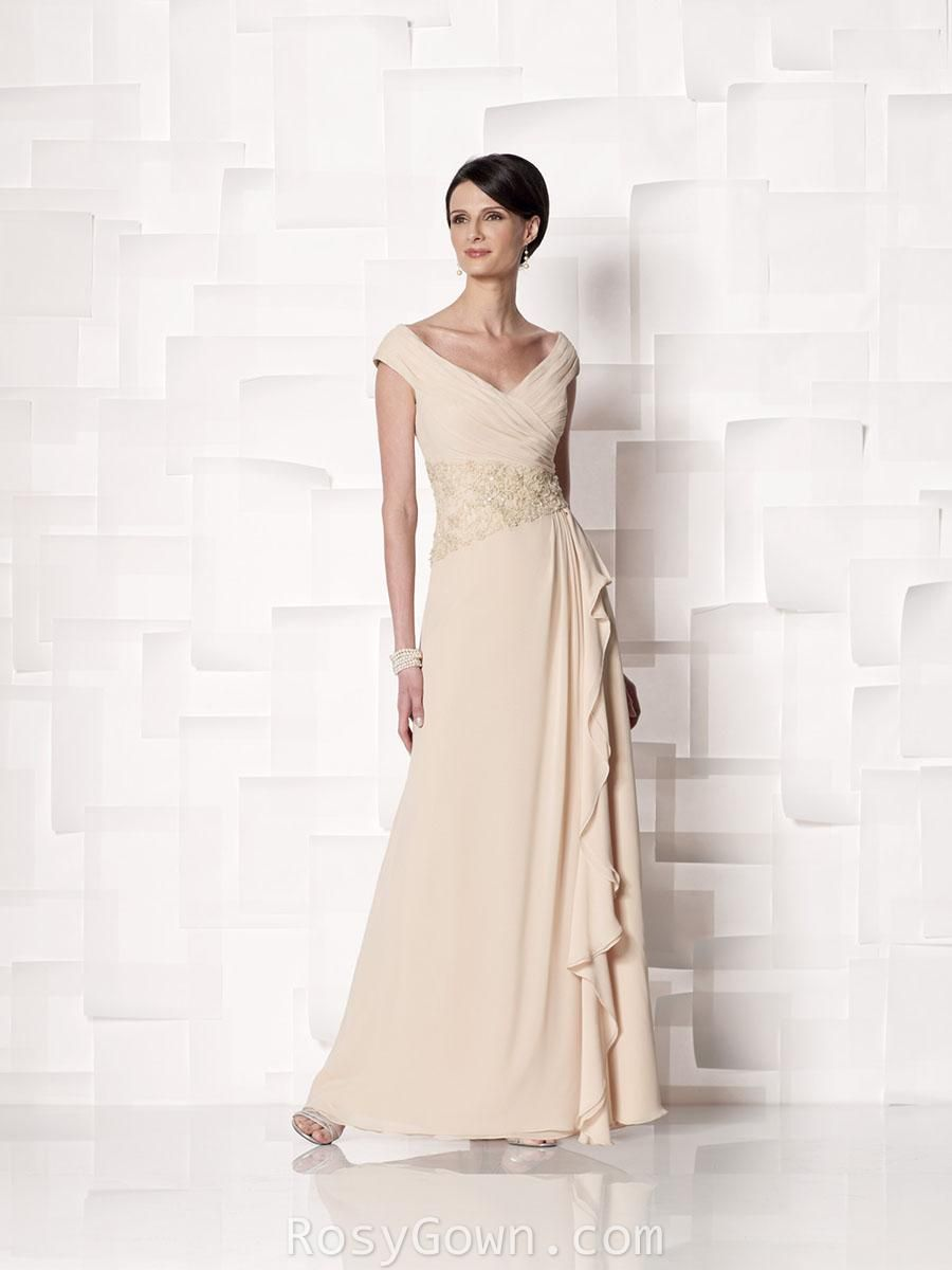 e164f71dff Champagne chiffon mock wrap mother of the bride dress with cap sleeves