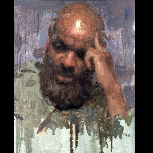 demo I did for my head painting class adding a hand. Kinda looks like he's flicking me off ... Hee Hee. #allaprima #painting #portrait