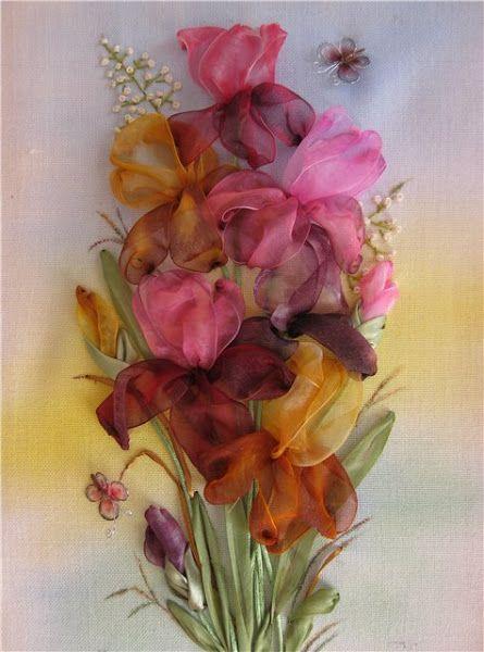 Iris. Ribbon embroidery