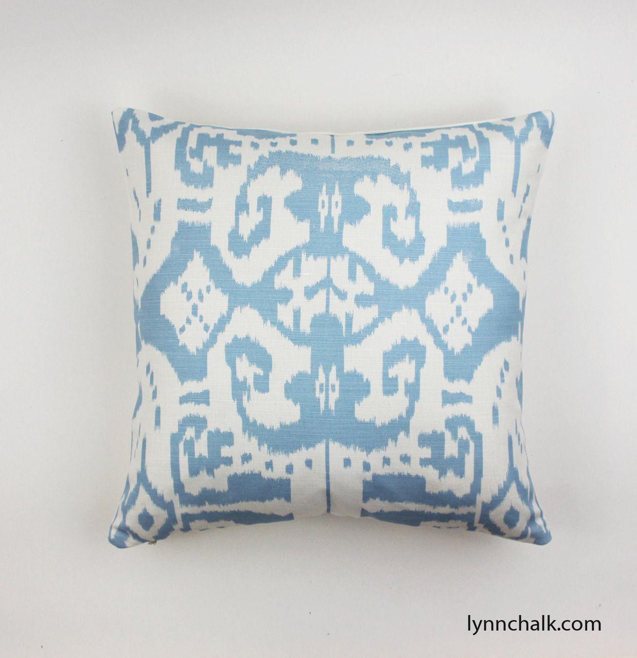 Quadrille china seas island ikat custom pillows shown in zibby blue