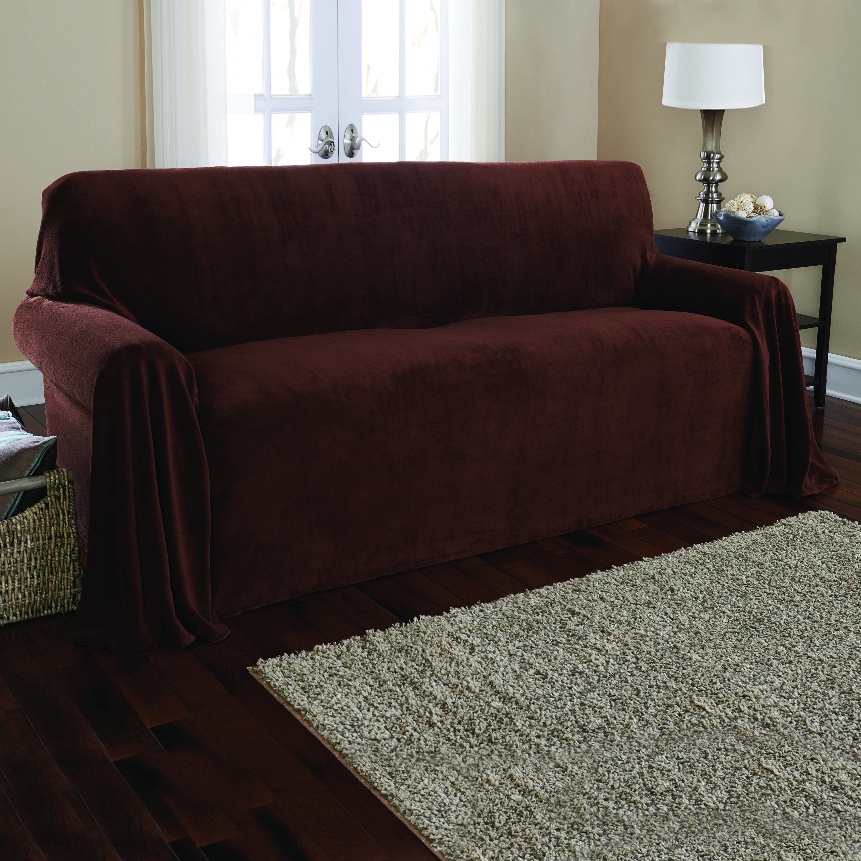Sure Fit Plush Sofa Throw Warm Chocolate Brown Solid Slipcovers