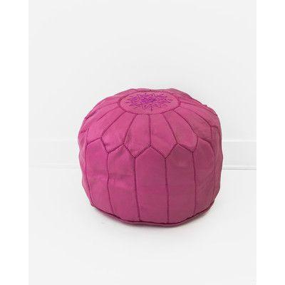 Moroccan Leather Pouf Ottoman Upholstery Color: Fuchsia - http://delanico.com/ottomans/moroccan-leather-pouf-ottoman-upholstery-color-fuchsia-602189868/