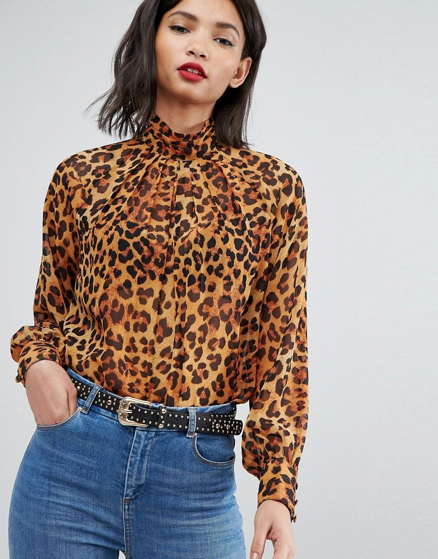 fb7979a4da511 ASOS Animal Print High Neck Blouse - Multi