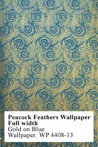 wallpaper design from 1880-1900, peacock feathers, gold on blue
