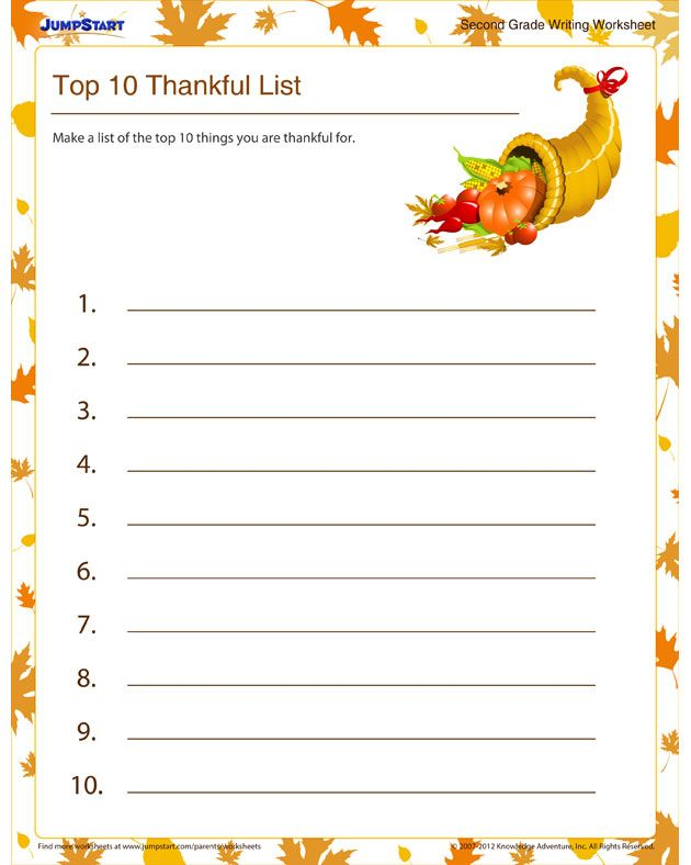 Get 2nd Grade Writing Worksheets and Printables | Thanksgiving ...