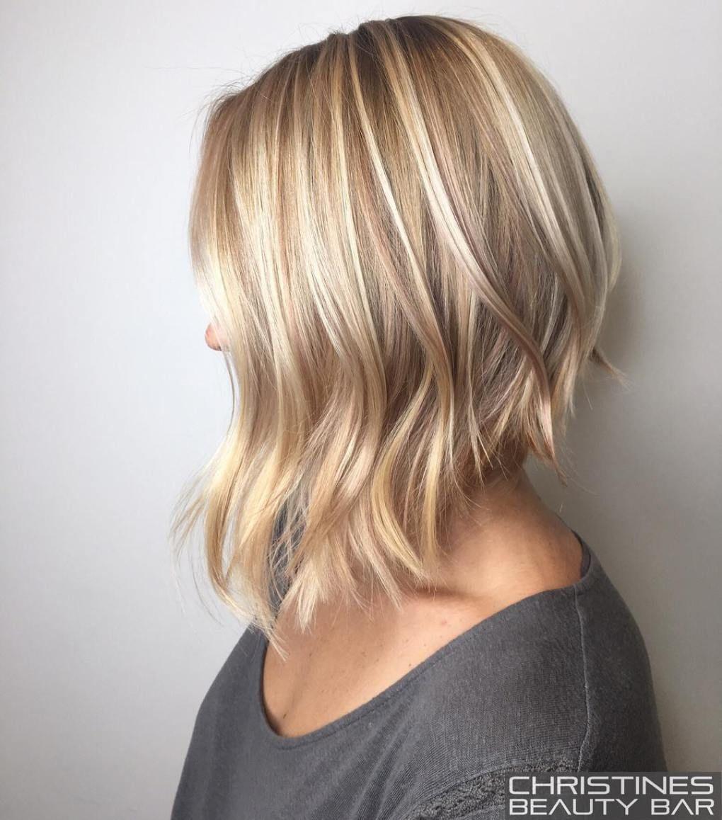 Angled Blonde Lob For Fine Hair Choppy Bob Hairstyles Hair Styles Bob Hairstyles