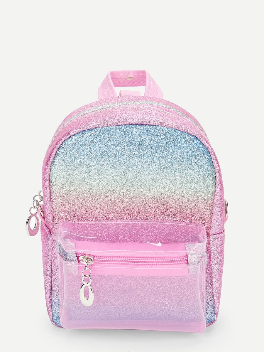 84d90fd38c1ca Girls Glitter Rainbow Random Color Backpack -SheIn(Sheinside)