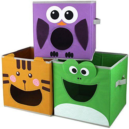 Paylak Scr500 Kids Storage Organizer Bins Fabric Set Of 3 Animal Print With Handle Kids Storage Fabric Storage Cubes Fabric Storage Bins