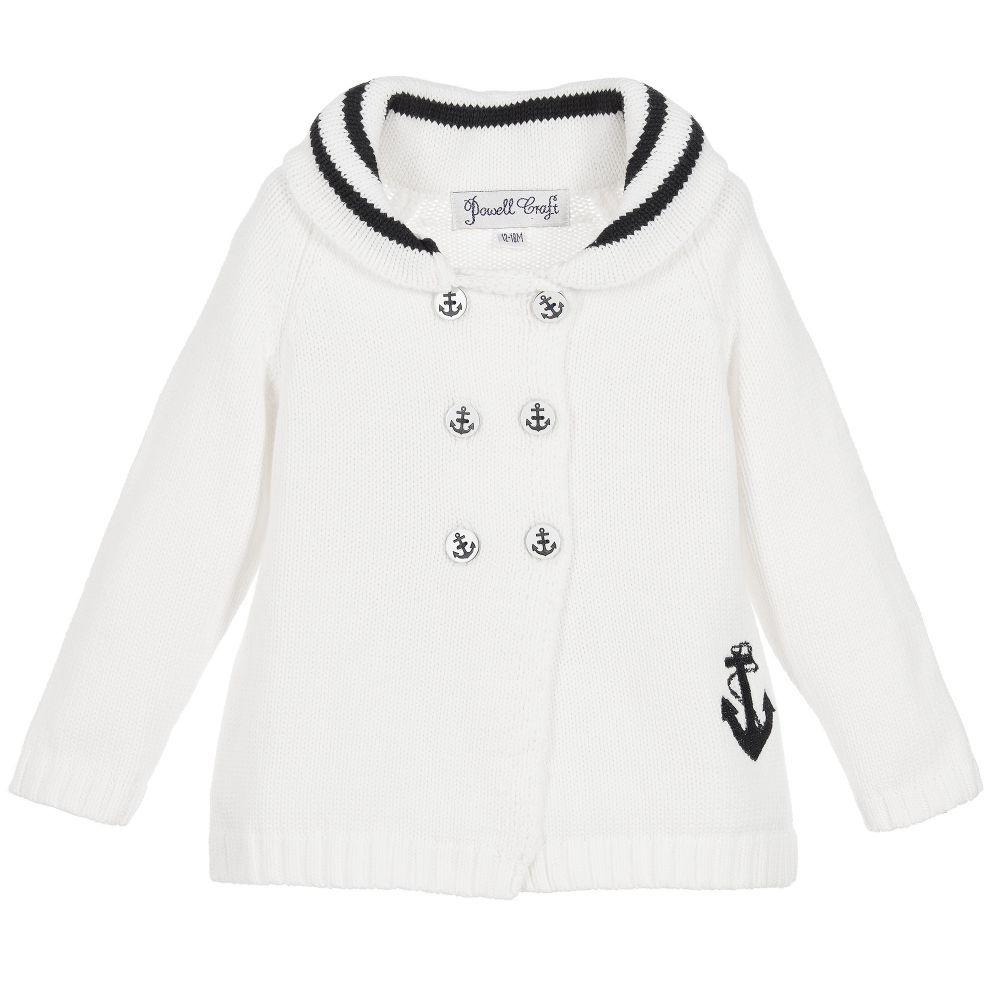 09a77530bd7b White Cotton Knit Baby Pram Coat