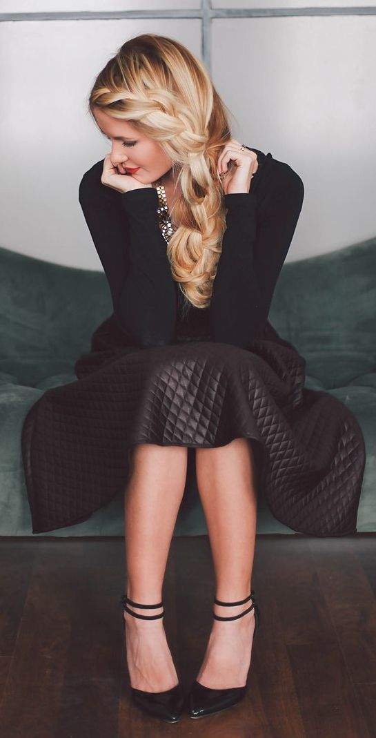 Black Quilted Leather A-skirt by Barefoot Blonde