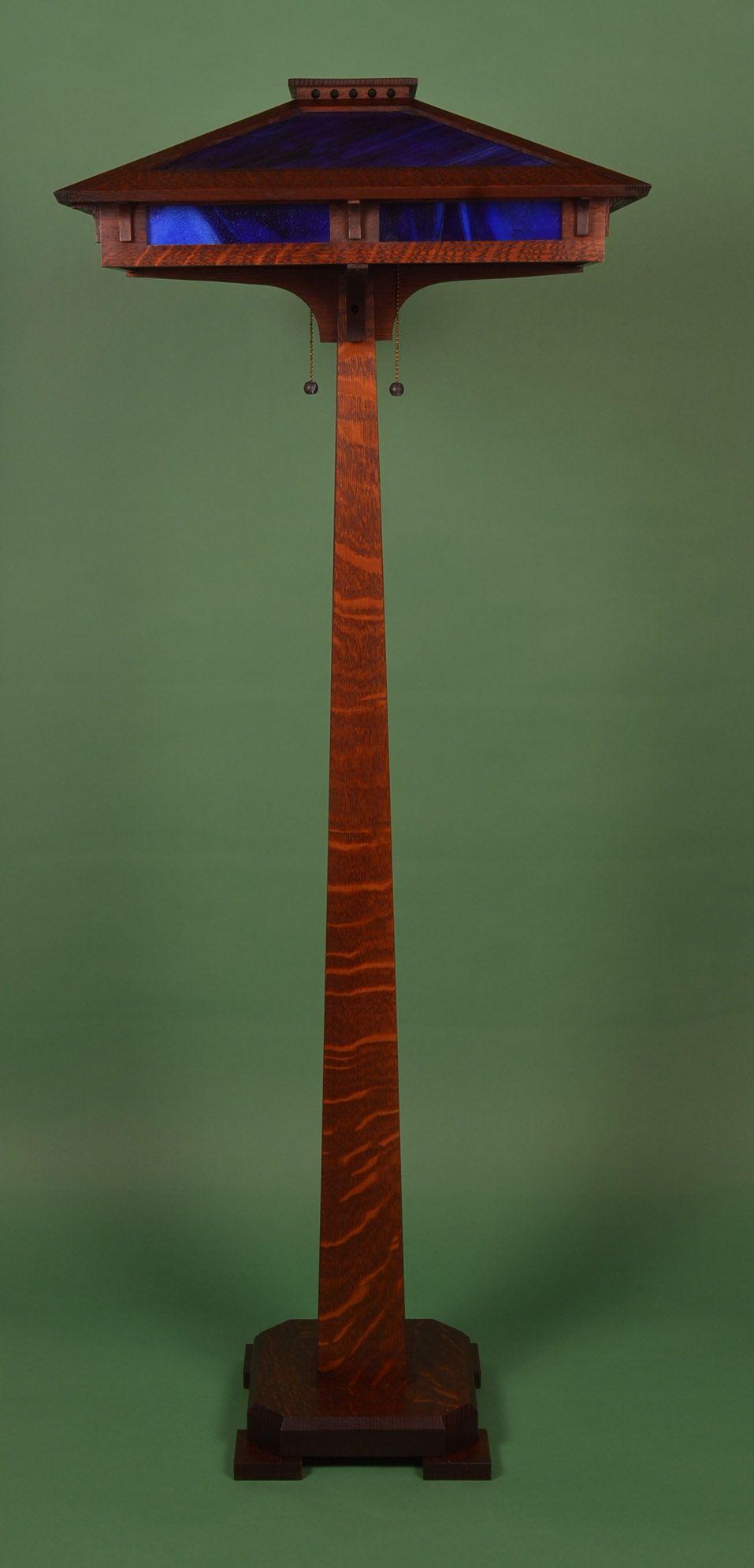 Pin on Prairie Craftsman Floor Lamp with Cobalt Blue Slag