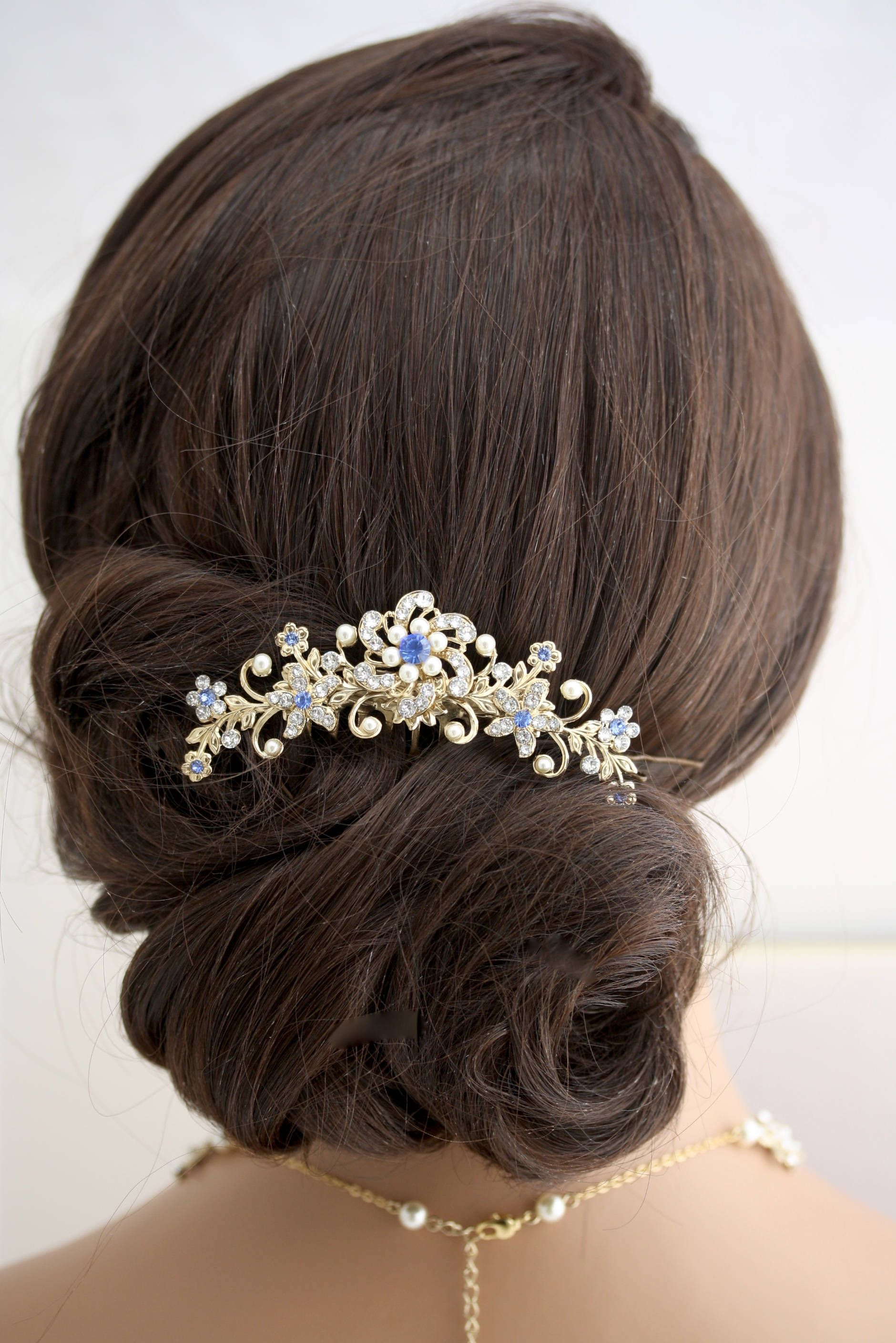 bridal hair comb blue wedding hair accessories something