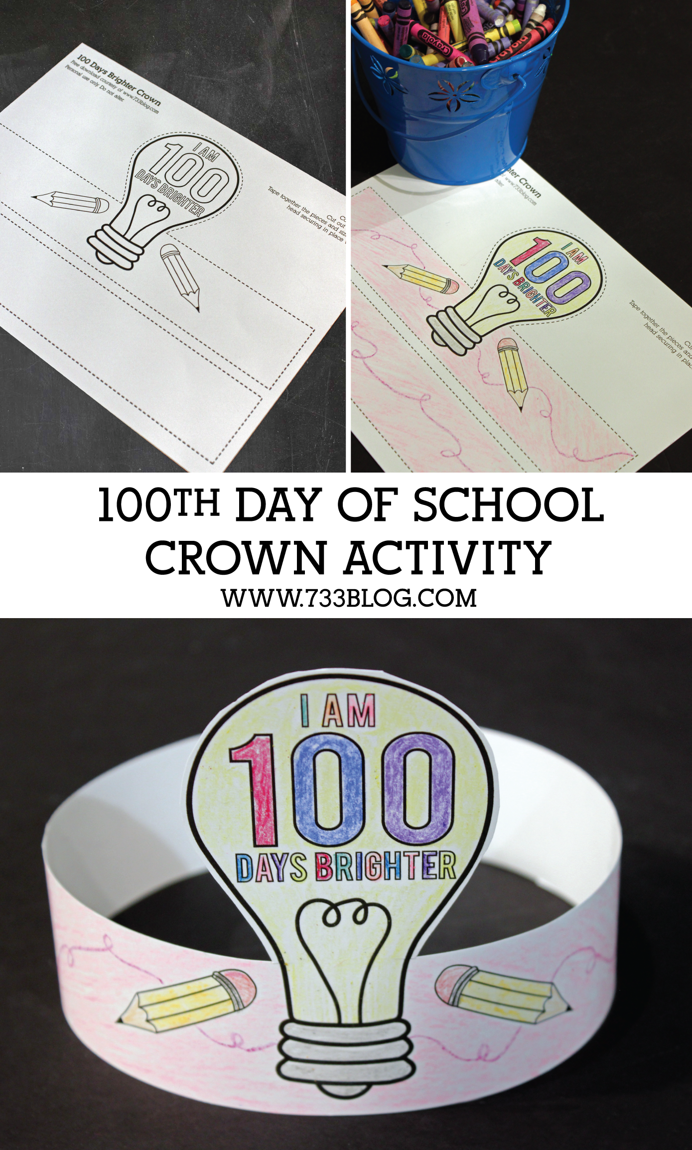 100 days brighter crown activity skola undervisning och for 100th day of school crown template