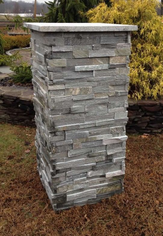 Natural pre built stone driveway pillars house design for Ready made driveway gates