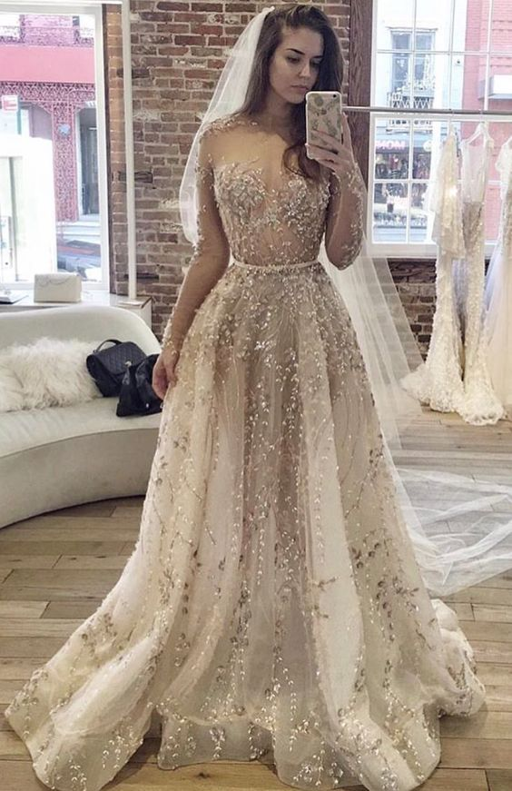 aae8b3d8d5728d Completely Embellished Sheer Long-Sleeve Wedding Dress
