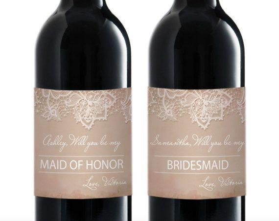 Bridesmaid Proposals Wine Label Be My by DIYInvitationDivas