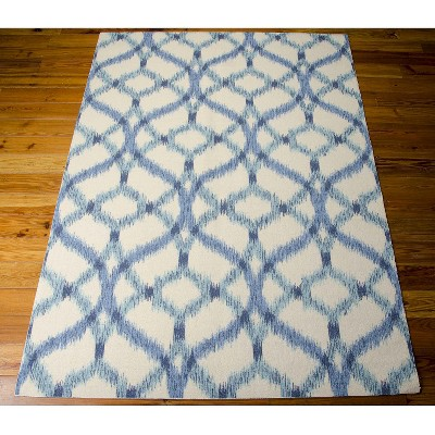 Waverly Ikat Lattice Indoor Outdoor Rug Blue 10 X13 Aegean