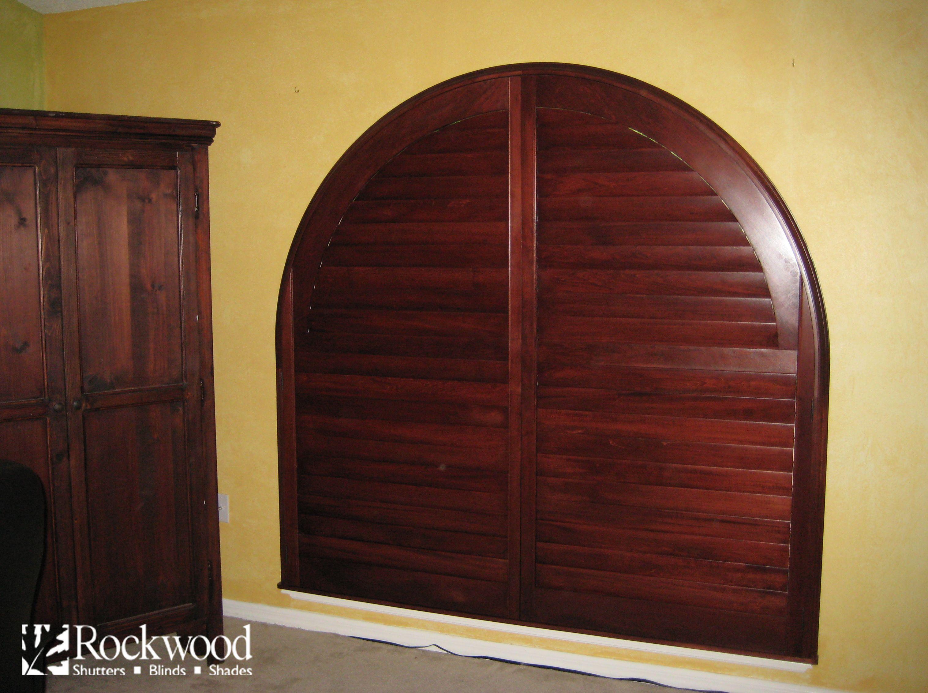 Dark Stained Hardwood Custom Made Arch Shutters Shutters