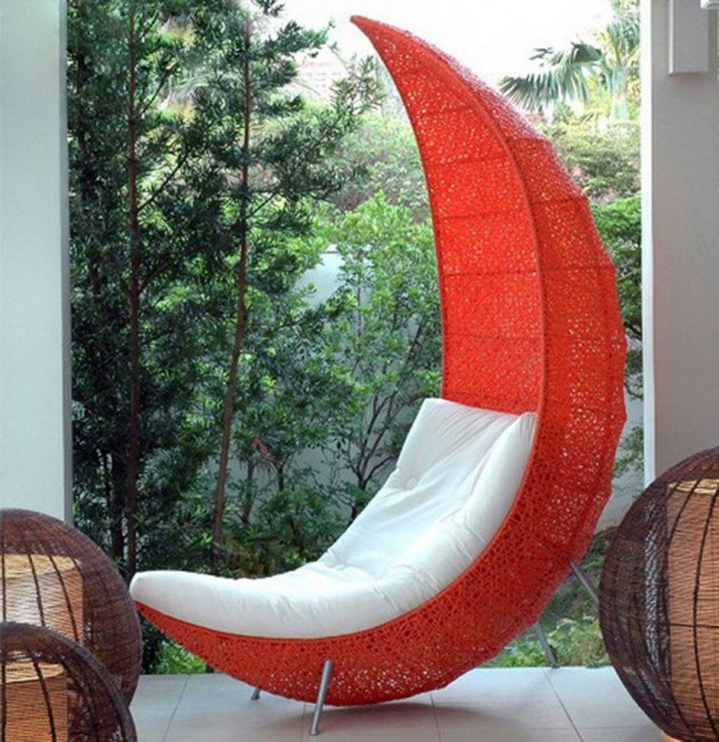 Decorations, Enchanting Orange Leaf Shaped Chair With ...