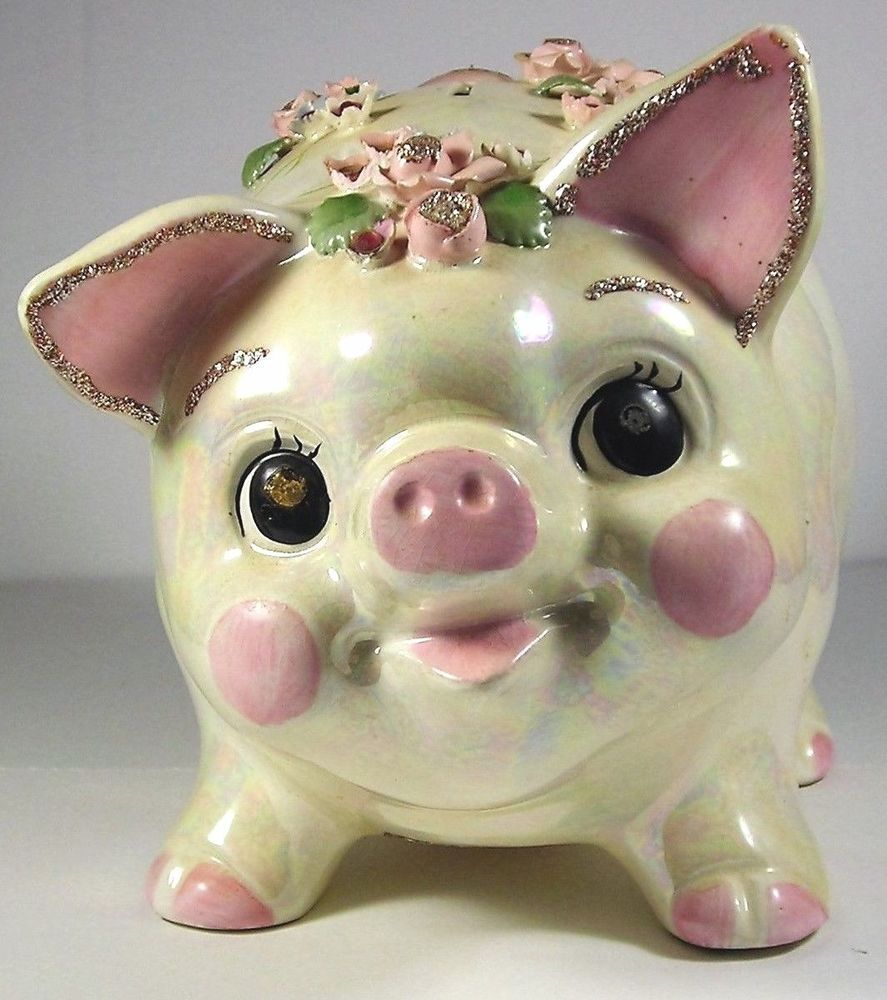 Vintage usa made ceramic rhinestone piggy bank coin holder white luster essay essay what 39 s - Rhinestone piggy bank ...