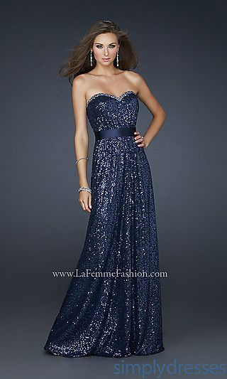 cbe790791a3 Strapless Sequin Prom Gown by La Femme at PromGirl.com