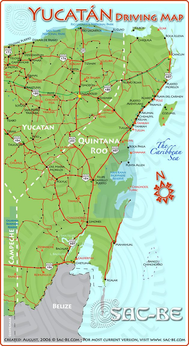Yucatan driving map | Cancun | Driving maps, Costa Maya, Riviera ...