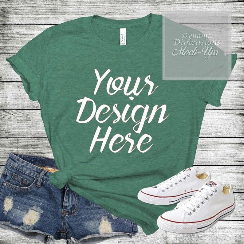 Download Bella Canvas 3001 Unisex T Shirt Mock Up Shirt Template Green Etsy Shirt Template Shirt Mockup Shirts